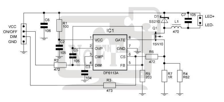 Схема LED подсветки на DF6113A