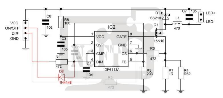 Схема изменений в драйвере LED