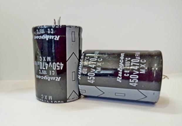 Конденсатор электролитический 470мкФ x 450В Rubycon
