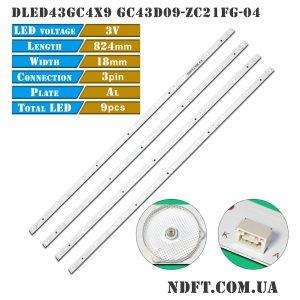 Led подсветка DLED43GC4X9 GC43D09-ZC21FG-04 01