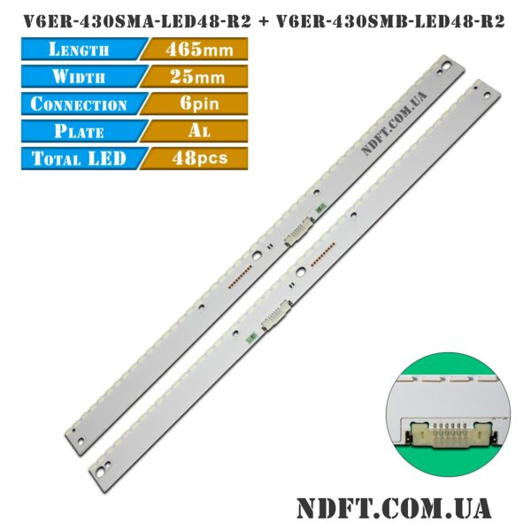 LED подсветка V6ER-430SMA-LED48-R2 V6ER-430SMB-LED48-R2 01